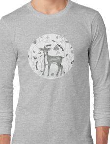 Sweet Deer in Beautiful Garden Long Sleeve T-Shirt