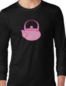 a cute pink tea kettle Long Sleeve T-Shirt