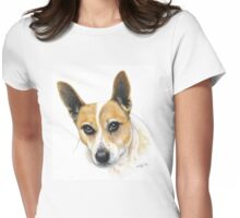 Colour Pencil Portrait of our dog Skippy Womens Fitted T-Shirt