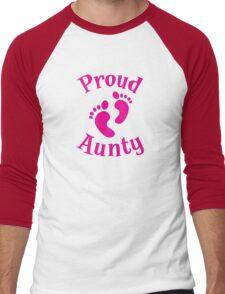 Proud Aunty with cute maternity baby feet Men's Baseball ¾ T-Shirt