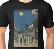 Night view of Saruwaka-machi - Hiroshige Ando - 1856 Unisex T-Shirt