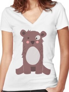Cute brown bear Women's Fitted V-Neck T-Shirt