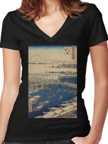 Nihonbashi, clearing after snow - Hiroshige Ando - 1856 Women's Fitted V-Neck T-Shirt