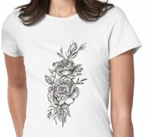 Blackwork Peony Womens Fitted T-Shirt