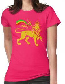 Gold Rasta Lion of Judah Womens Fitted T-Shirt