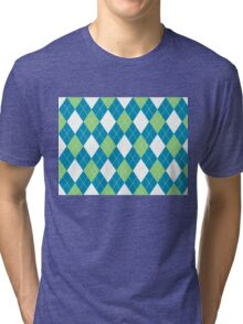 Classic Warm Cloth Pattern Blue Green Tri-blend T-Shirt