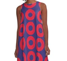 Red and Blue Polka dot A-Line Dress