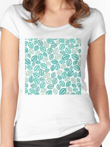Leaf Pattern Women's Fitted Scoop T-Shirt
