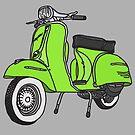 Vespa Illustration - Lime by thyearlofgrey