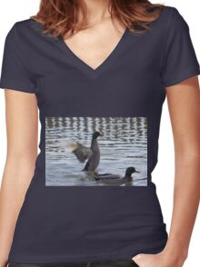 ducks are swimming in the lake Women's Fitted V-Neck T-Shirt