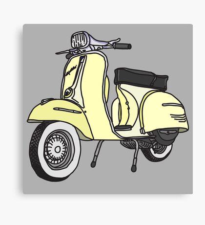 Vespa Illustration - Cream Canvas Print