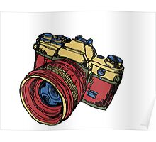 Classic 35mm SLR Camera in Fall Colors Poster