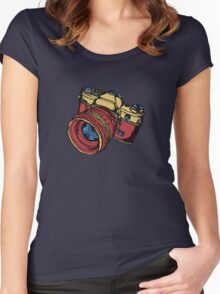 Classic 35mm SLR Camera in Fall Colors Women's Fitted Scoop T-Shirt
