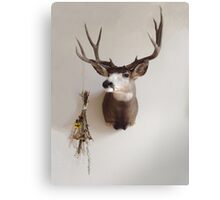 Deer Mount with Dried Flower Bouquet Canvas Print