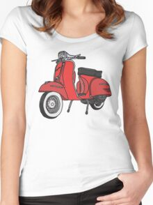 Vespa Illustration - Red Women's Fitted Scoop T-Shirt