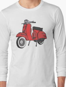 Vespa Illustration - Red Long Sleeve T-Shirt