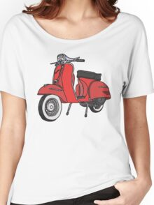 Vespa Illustration - Red Women's Relaxed Fit T-Shirt