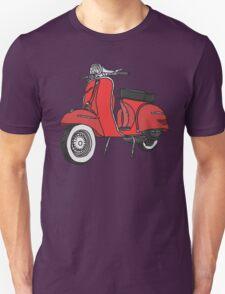 Vespa Illustration - Red Unisex T-Shirt