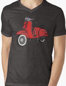 Vespa Illustration - Red Mens V-Neck T-Shirt