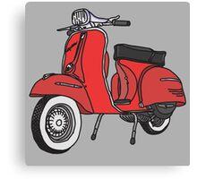 Vespa Illustration - Red Canvas Print
