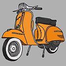 Vespa Illustration - Orange by thyearlofgrey