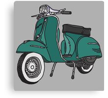 Vespa Illustration - Teal Canvas Print