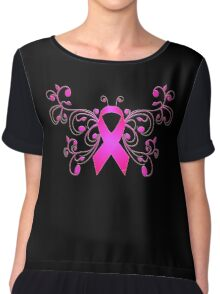 Breast Cancer Butterfly Ribbon Chiffon Top