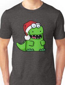 Happy Smiling Green Santa Saurus Unisex T-Shirt