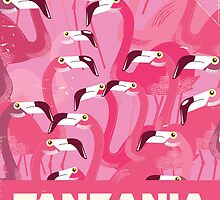 Tanzania Flamingos retro travel poster by Nick  Greenaway