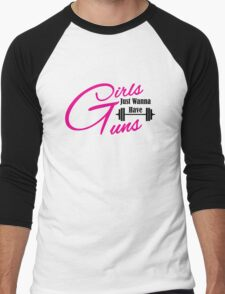 Girls just wanna have guns workout apparel Men's Baseball ¾ T-Shirt