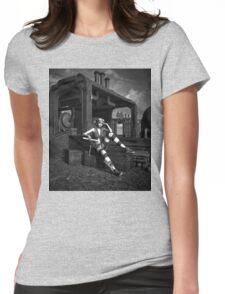 Steampunk Blaze BW Womens Fitted T-Shirt