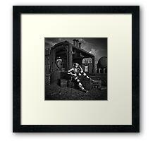 Steampunk Blaze BW Framed Print