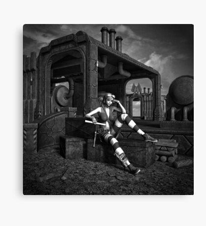 Steampunk Blaze BW Canvas Print