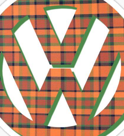 VW Logo in Westfalia Plaid Sticker