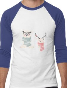 Two hipster polar bears Men's Baseball ¾ T-Shirt