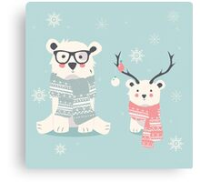 Two hipster polar bears Canvas Print