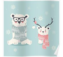 Two hipster polar bears Poster