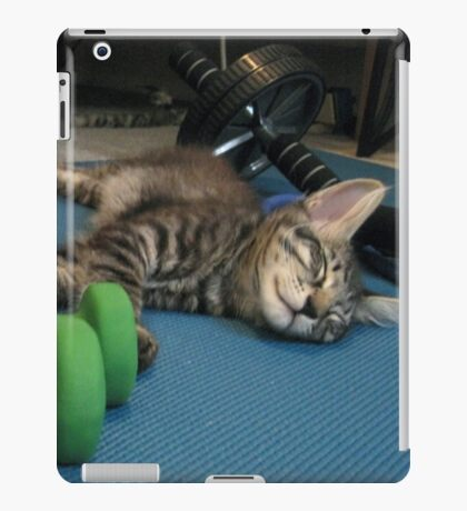 Mikino doesn't workout on Caturday's!  iPad Case/Skin