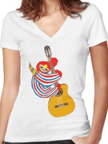 Bowie Sloth Vintage Guitar Women's Fitted V-Neck T-Shirt