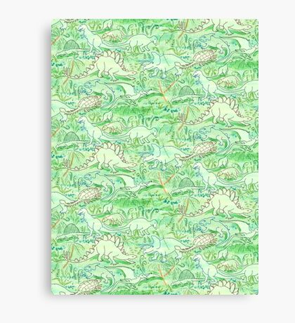Dinosaurs in Primeval Jungle in Green Blue and Brown Canvas Print