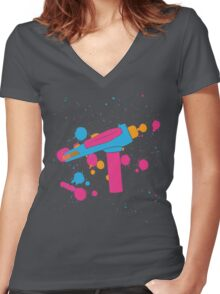 Phaser Paint Splatter (Full Color) Women's Fitted V-Neck T-Shirt
