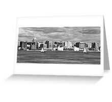 Ice Sailing BW - Madison - Wisconsin Greeting Card