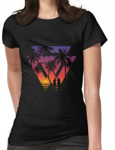 surfing with cool shape Womens Fitted T-Shirt