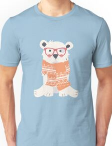 Hipster polar bear in the forest Unisex T-Shirt