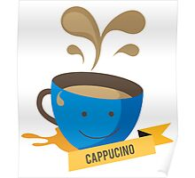 Cappucino Coffee Cup Illustration Poster
