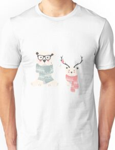 Hipster polar bears in a forest Unisex T-Shirt