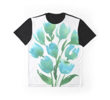 Watercolor Blue Tulips Graphic T-Shirt