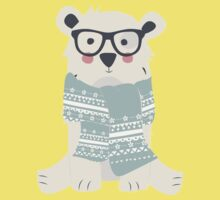 Polar hipster bear in a forest Kids Tee