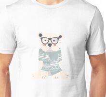 Polar hipster bear in a forest Unisex T-Shirt