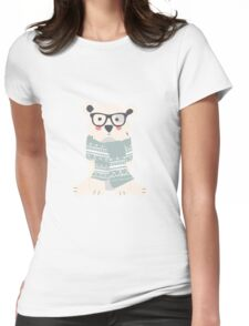 Polar hipster bear in a forest Womens Fitted T-Shirt